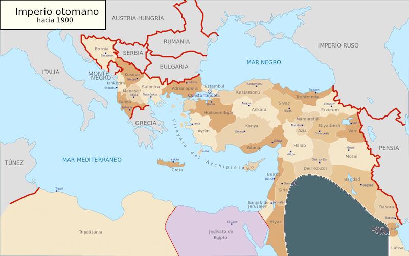 Imperio Otomano hacia el 1900 - labrújulaverde.com
