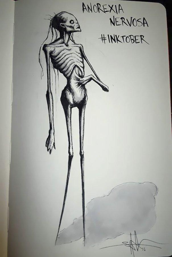 enfermedades mentales ilustradas por Shawn Coss durate el inktober 2016 11