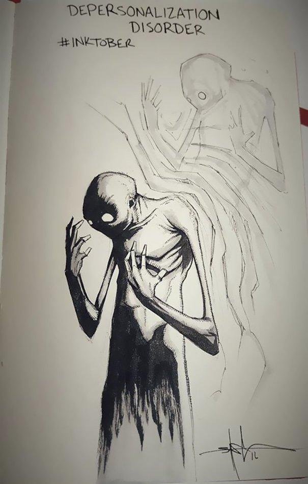 enfermedades mentales ilustradas por Shawn Coss durate el inktober 2016 12