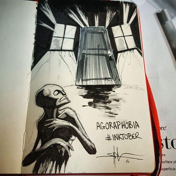 enfermedades mentales ilustradas por Shawn Coss durate el inktober 2016 13
