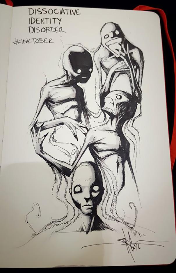 enfermedades mentales ilustradas por Shawn Coss durate el inktober 2016 14