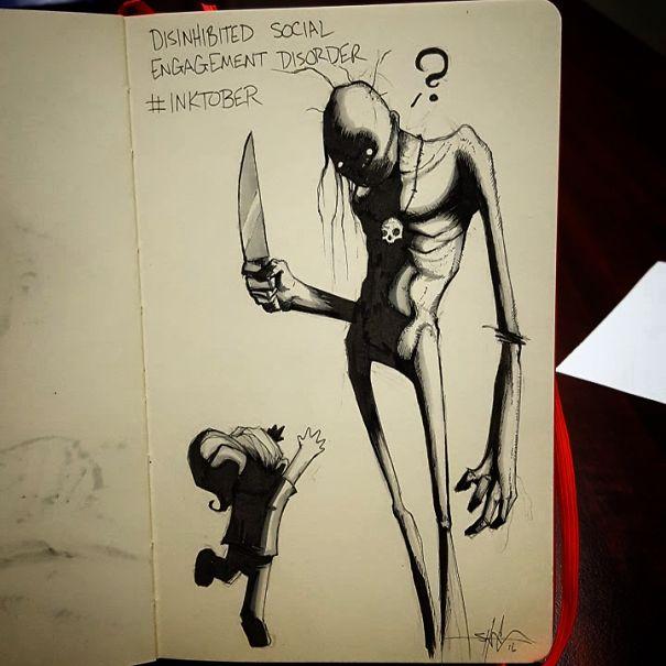 enfermedades mentales ilustradas por Shawn Coss durate el inktober 2016 17