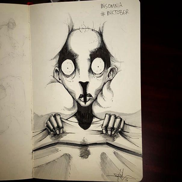 enfermedades mentales ilustradas por Shawn Coss durate el inktober 2016 2