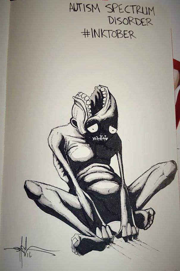 enfermedades mentales ilustradas por Shawn Coss durate el inktober 2016 6