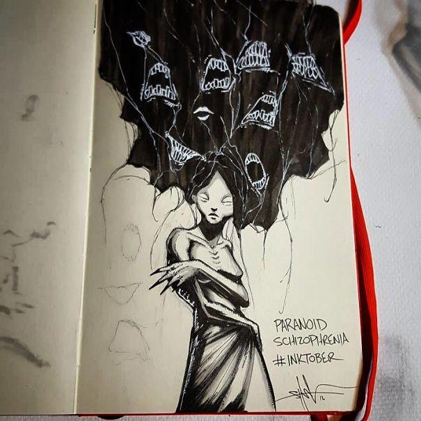 enfermedades mentales ilustradas por Shawn Coss durate el inktober 2016 7