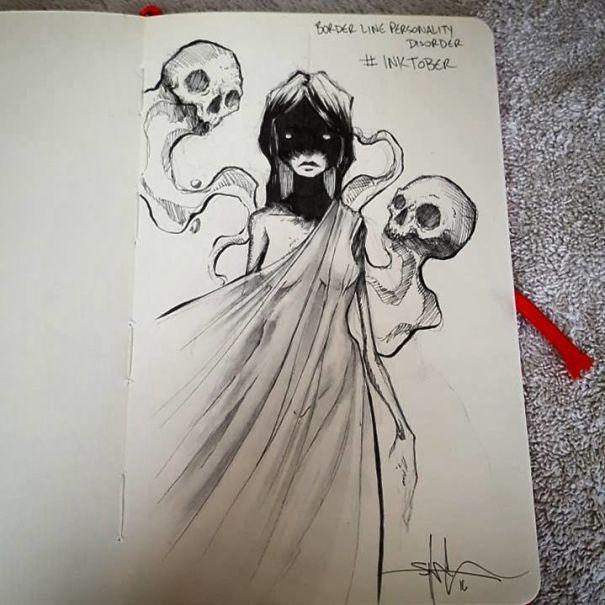 enfermedades mentales ilustradas por Shawn Coss durate el inktober 2016 8