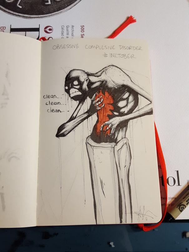 enfermedades mentales ilustradas por Shawn Coss durate el inktober 2016 9