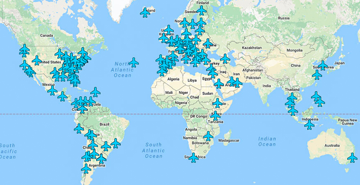 mapa interactico con las claves wifi de todos los aeropuertos del mundo