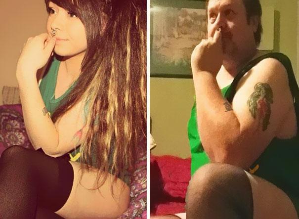 Padre recrea los selfies de su hija 11