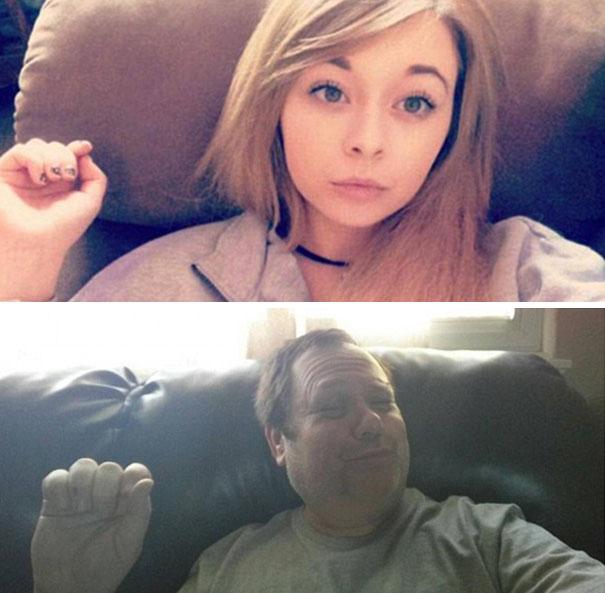 Padre recrea los selfies de su hija 12