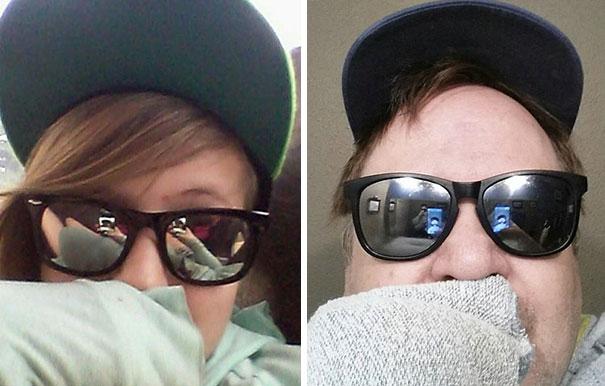 Padre recrea los selfies de su hija 13