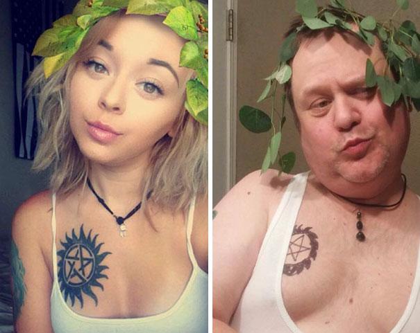 Padre recrea los selfies de su hija 2