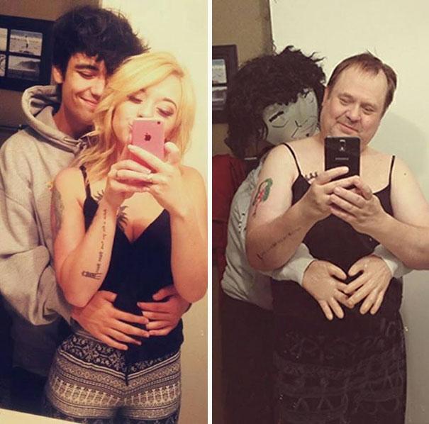 Padre recrea los selfies de su hija 4