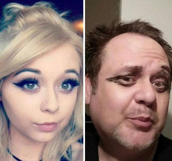 Padre recrea los selfies de su hija 6