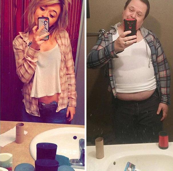 Padre recrea los selfies de su hija 7