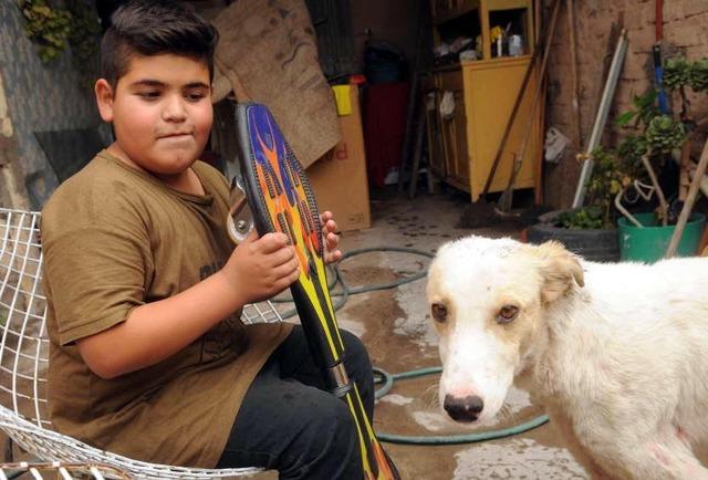 nino vende patinete para ayudar a perro
