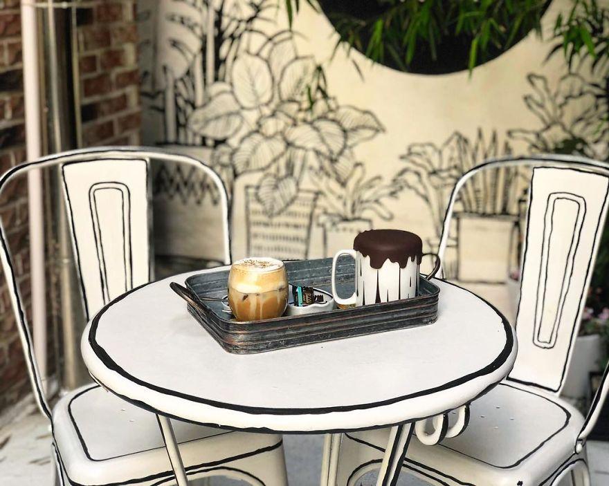 Cafés, mesa para dos