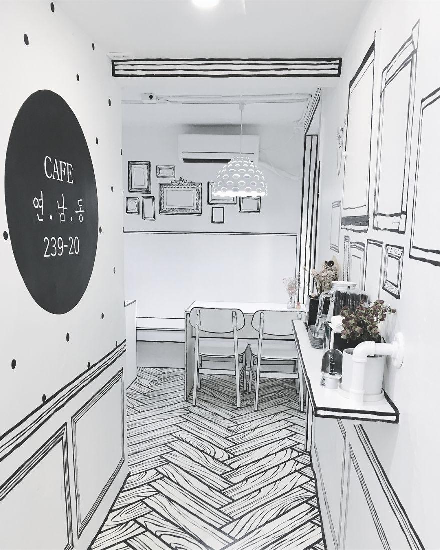 Cafés, corredor