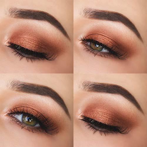 maquillaje ojos oro rosa