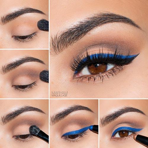 maquillaje ojos delineado azul
