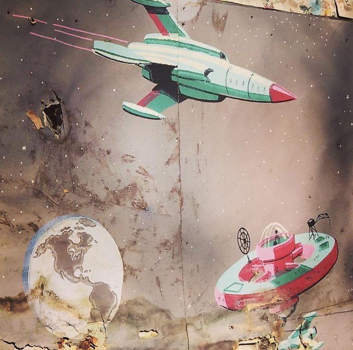 planetas y cohetes pintura