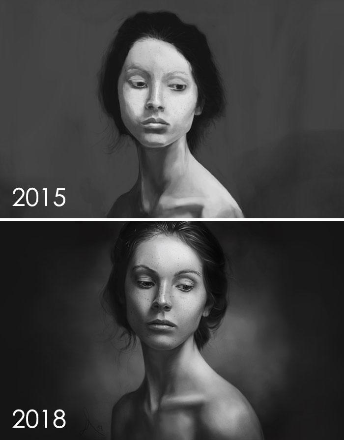 evolución de los dibujos de artistas
