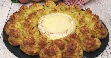 Receta de Patatas duquesa con queso Camembert pequeño
