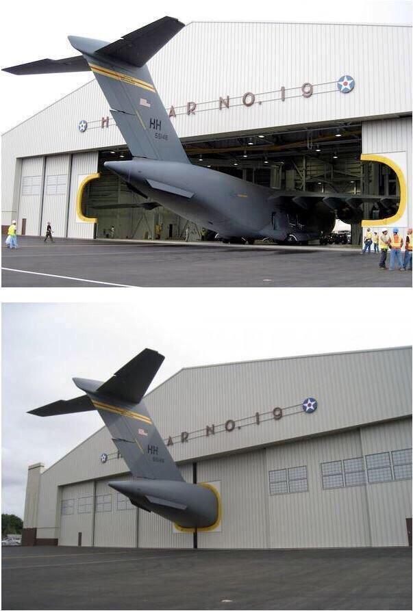 avión, hangar, puerta