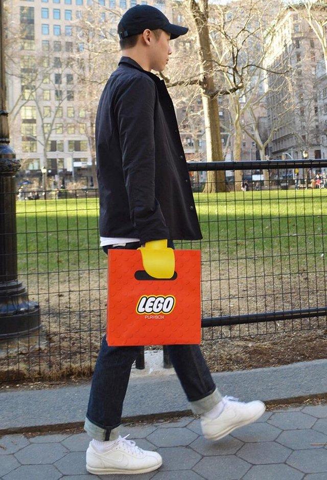 lego, bolsa,, hombre