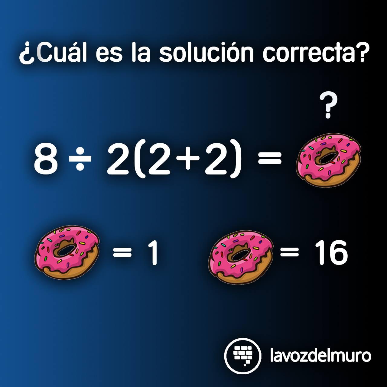 acertijo rosquilla y ecuación