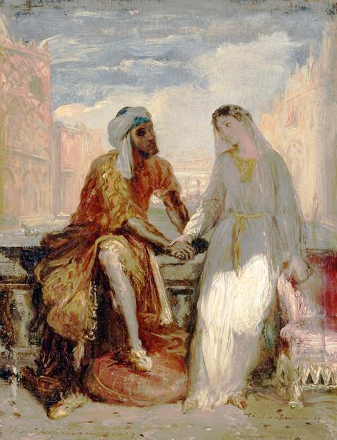 Otelo y Desdémona, por Théodore Chassériau. (Wikipedia)