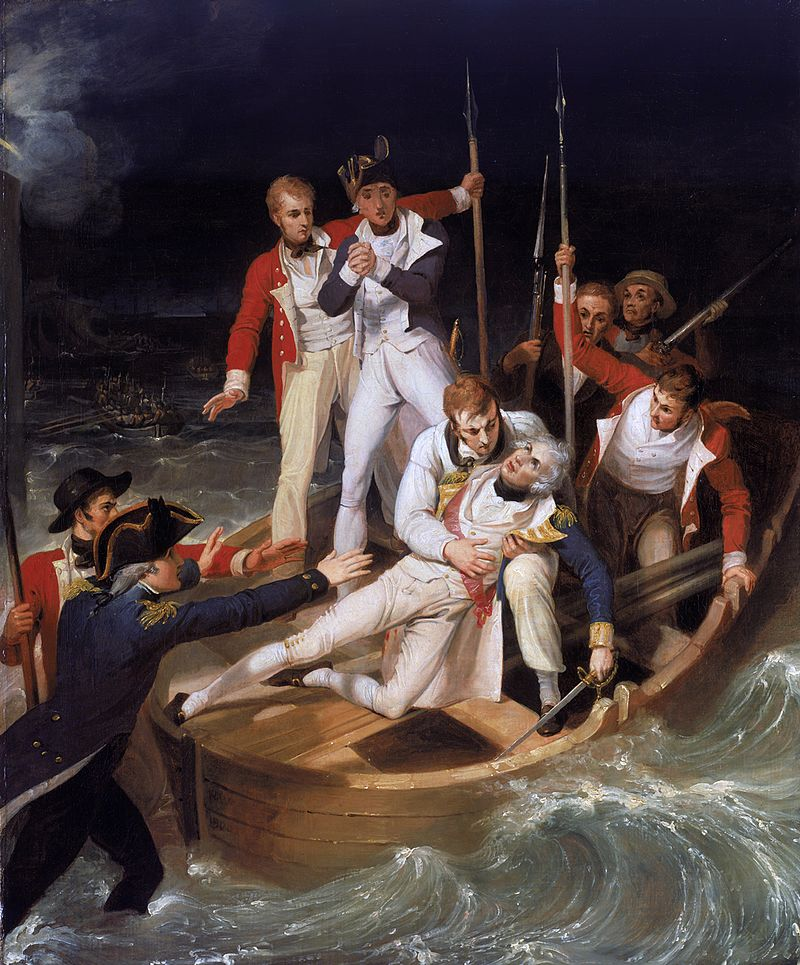 En las guerras navales entre España e Inglaterra era muy frecuente que muchos marineros se ahogaran y fueran tratados con humo de tabaco. (Óleo de Nélson herido, por Richard Westall, Wikipedia)