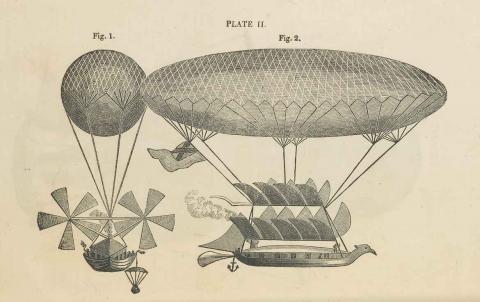 boceto zepelín antiguo máquina voladora