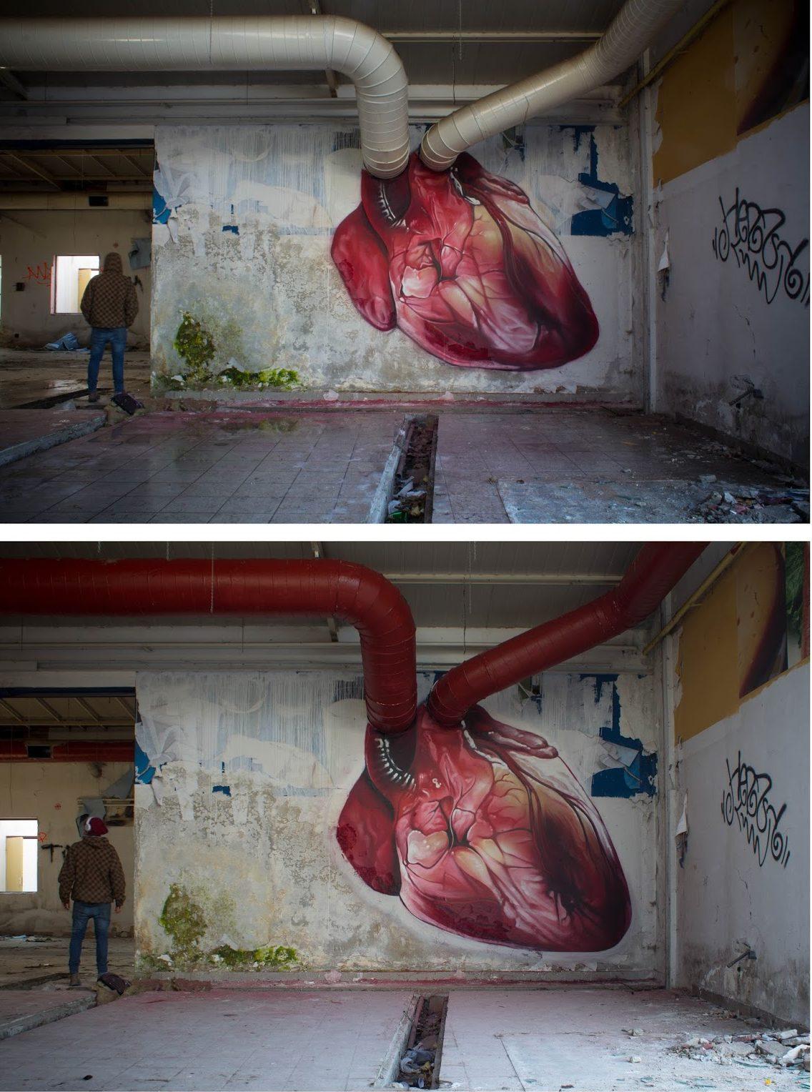 dibujo pared corazón