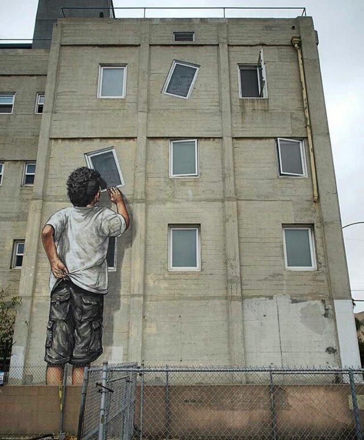graffiti niño ventanas