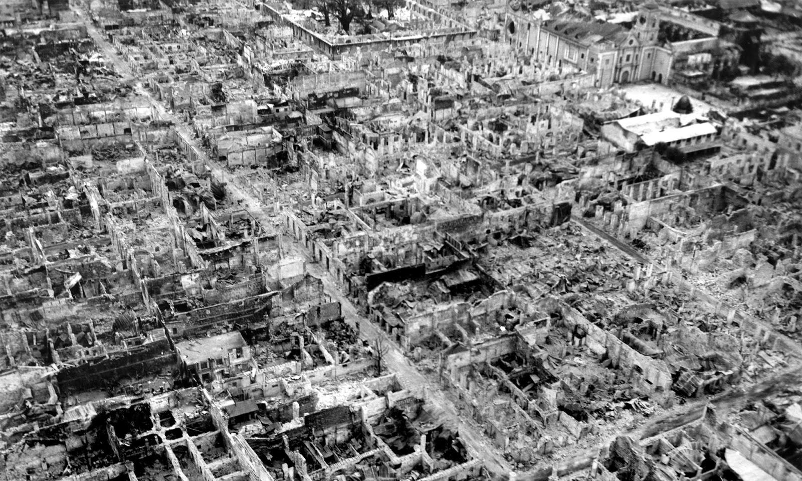 Ruinas de la ciudad de Manila, Filipinas, en 1945.