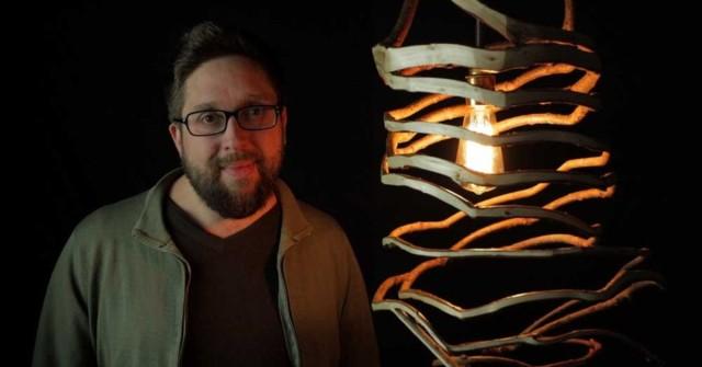 lámpara de madera de árbol