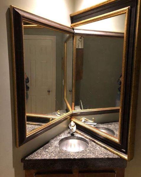 espejo cortado en una esquina