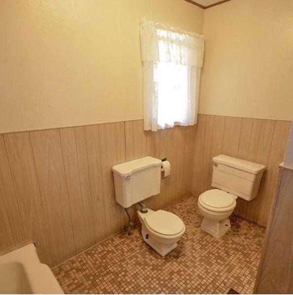inodoro doble en un baño ideas de decoración de interiores