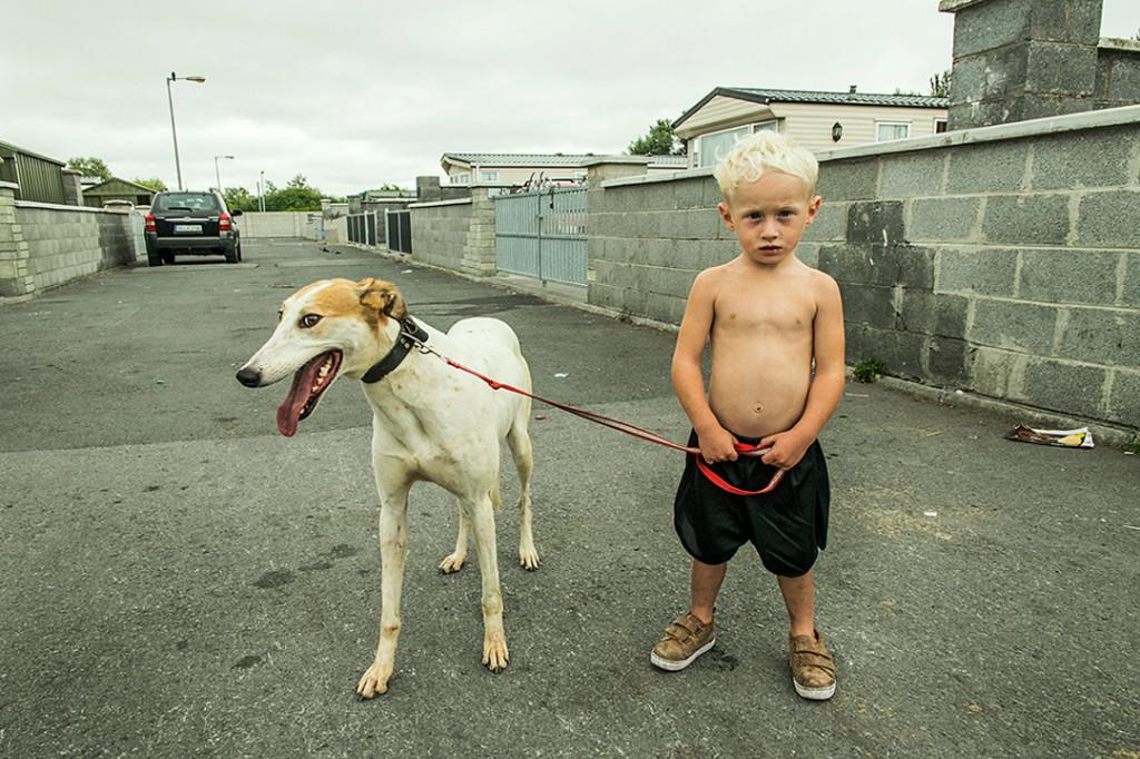 niño gitano irlandés posando con un perro