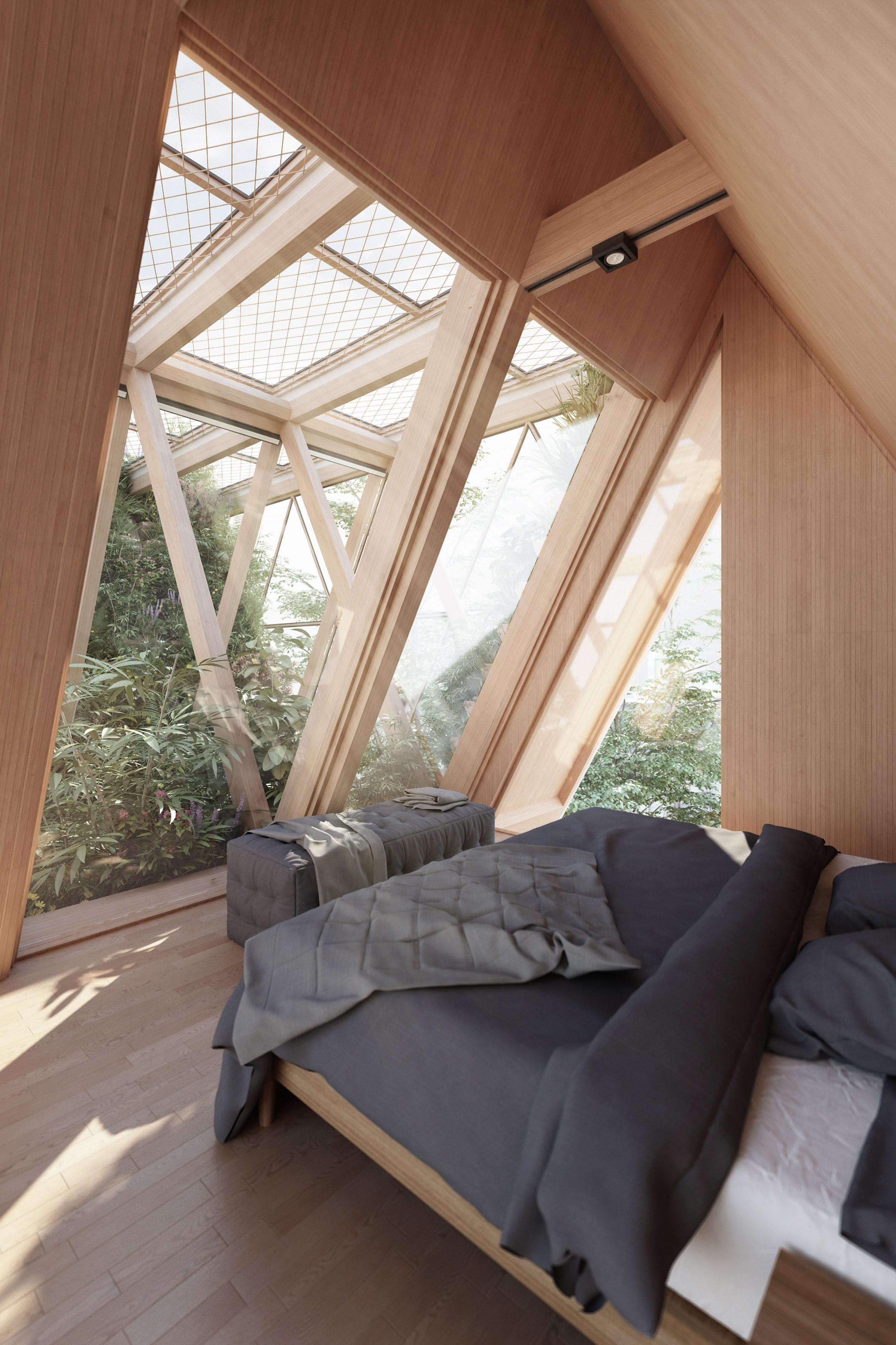 cama ventanal madera