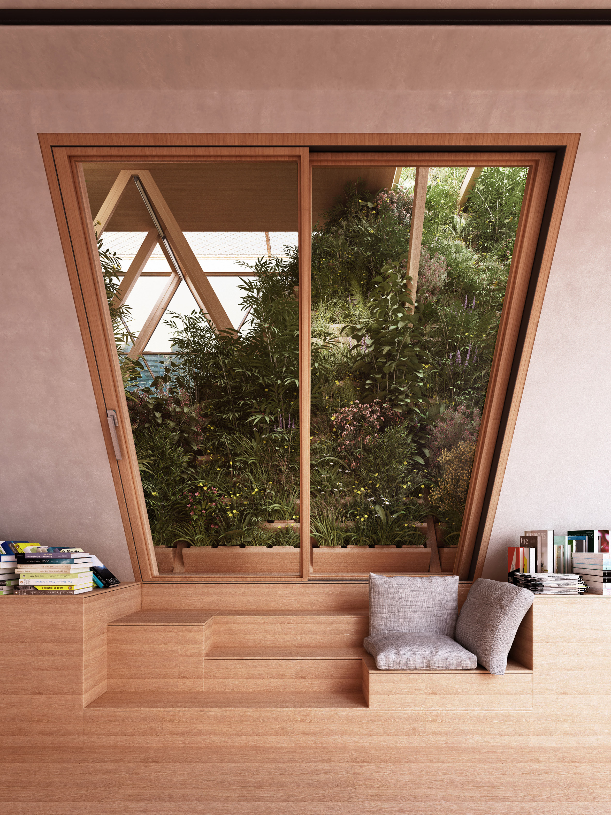 casa modular ventana cristal