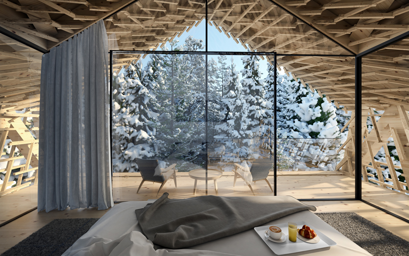 terraza bosque nevado