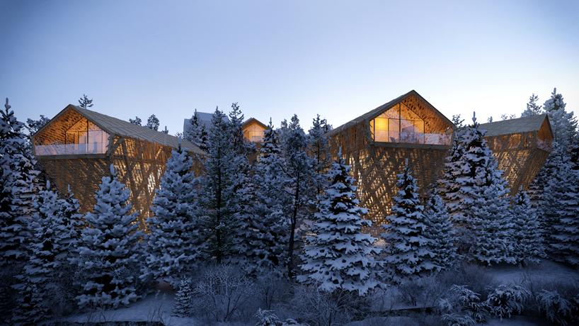 casas arboles nevados