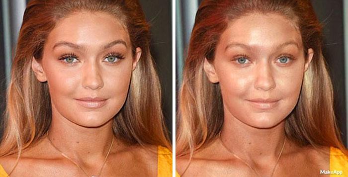 gigi hadid aplicación que quita el maquillaje