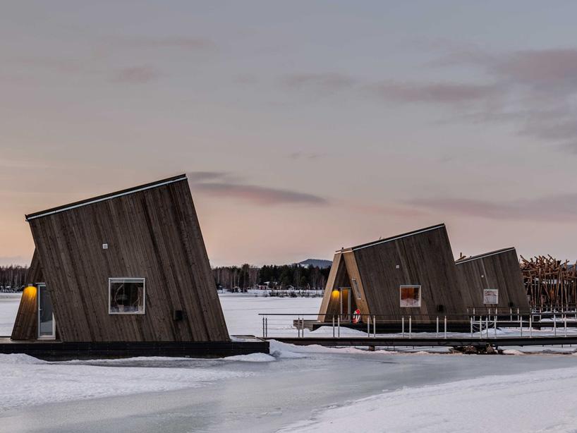 cabaña madera hielo