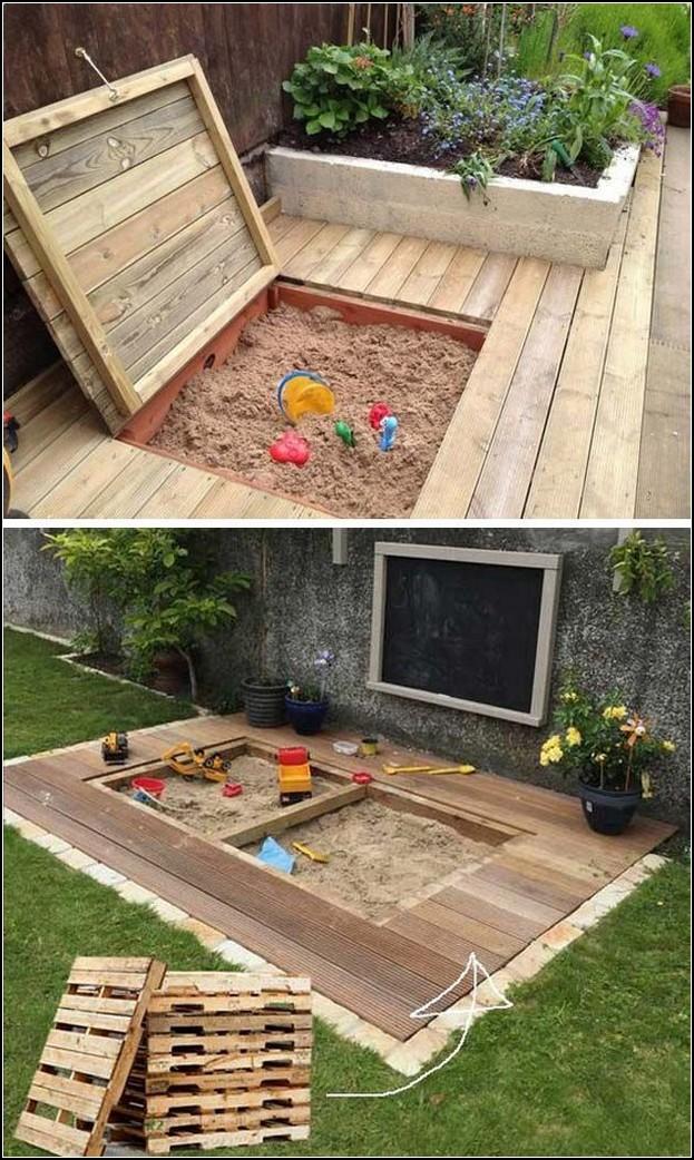 patio con arenero oculto