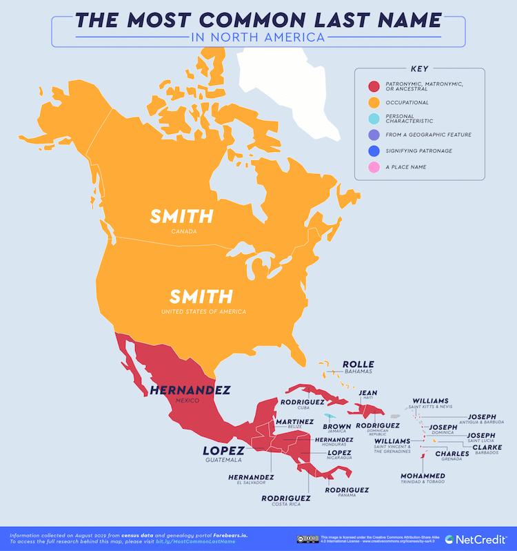 américa del norte apellidos