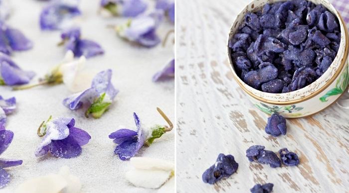 violetas confitadas