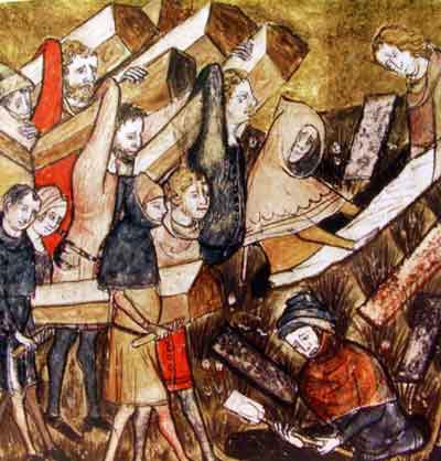 Ilustración medieval sobre la peste negra